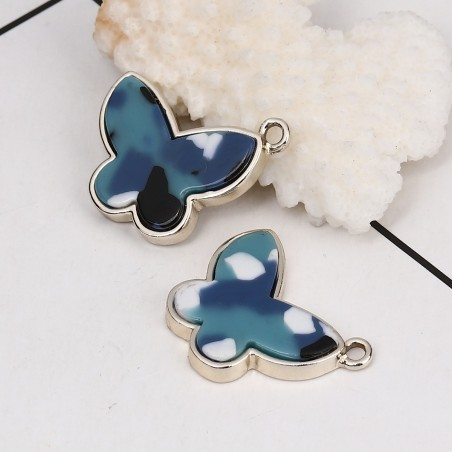 Breloque papillon effet marbre bleu et blanc