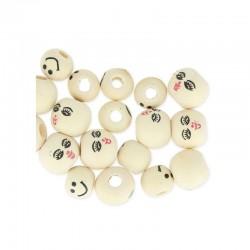 7 perles tête poupée bois pour personnages bijoux mobiles décoration