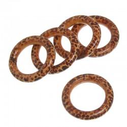 5 anneaux bois 40 mm entre deux panthère beige et brun vernis