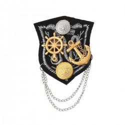 Broche textile  décor marine