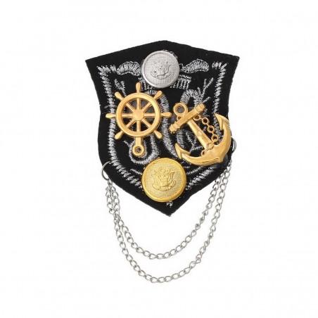 Broche textile décor écusson marine ancre doré