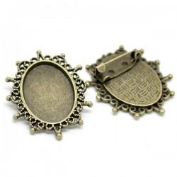 Support de broche ovale couleur bronze