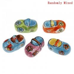 Perle céramique forme chaussure différents coloris