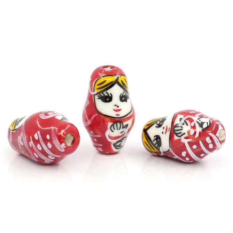 Perle céramique Matriochka poupée Russe rouge pour bijou fantaisie et original