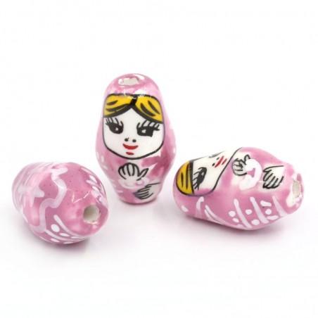 Perle céramique Matriochka poupée Russe rose