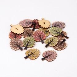5 Boutons bois en forme d'arbre, couleurs variées aléatoires