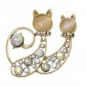 Couple de chats avec strass cabochon pour broche, pendentif ou autre bijou