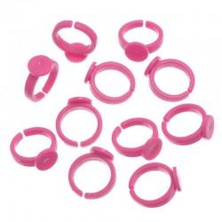 10 Bagues pour enfant avec supports à Cabochons rond couleur fushia