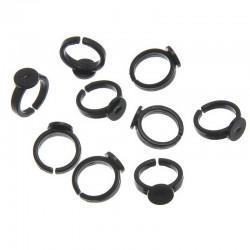 10 Bagues pour enfant avec supports à Cabochons rond couleur noire