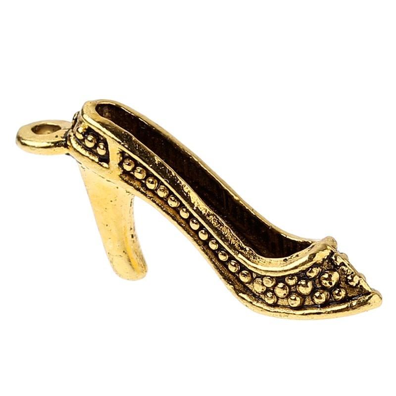 Pendentif de charme breloque en forme de chaussure à talons doré antique