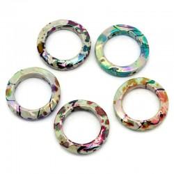5 perles acryliques ou entre deux rond couleur nacrées et métalliques aléatoires