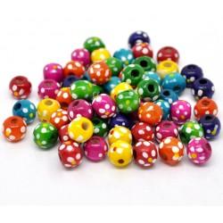 50 Perles rondes en bois 10 x 9 pois  décor de fleurs