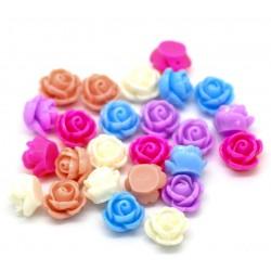 10 fleurs délicates en résine pour embellissement plusieurs couleurs