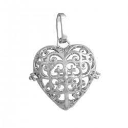 """Bola de grossesse pendentif forme coeur en creux S""""ouvre pour y placer une perle ou autre (taille perle 16 mm)"""