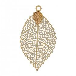 Pendentifs estampe en Filigrane Creux forme de feuille, couleur laiton pour collier ou autre bijou