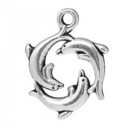 Breloque pendentif 3 dauphins en ronde, pour bijou thème marin