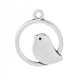 Breloque pendentif oiseau sur un cercle couleur argent