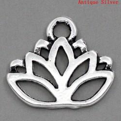 Breloque pendentif fleur de lotus au fil, évidée couleur argent vieilli