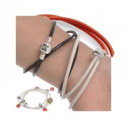 Bracelet charm 51 cm type pandora en cuire style européen 3 tours