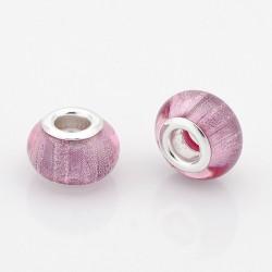 Perle résine style Pandora rose pale d'un très bel effet scintillant.