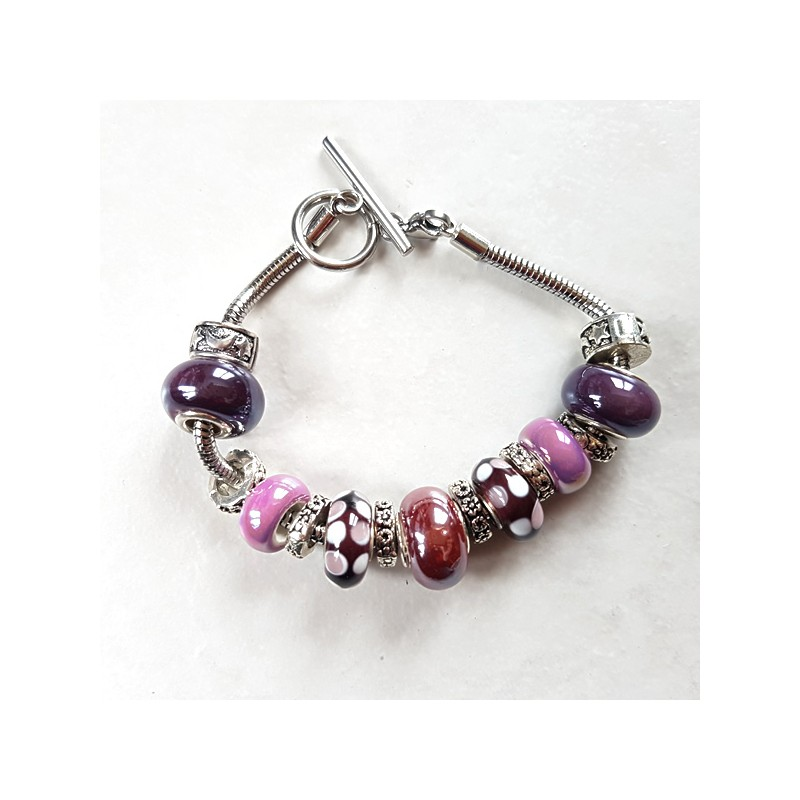 Bracelet style Pandora perles métal, céramique, lampwork prune et  bracelet acier inoxydable