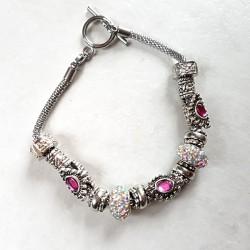 Bracelet style Pandora perles métal, scintillant et strass rose bracelet acier inoxydable