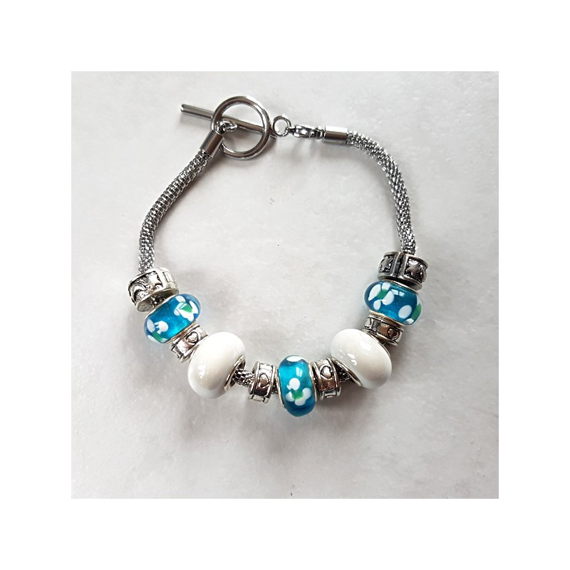 Bracelet style Pandora céramique lampwork bleu/blanc acier inoxydable