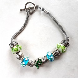 Bracelet style Pandora perles métal, lampwork bleu/vert, tortue et  bracelet acier inoxydable