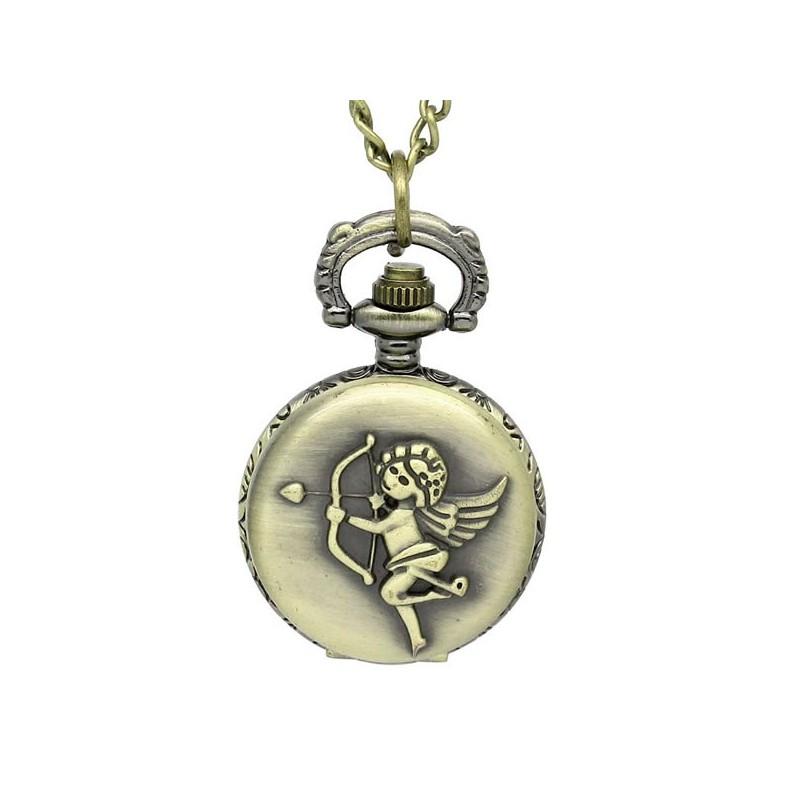 Montre à gousset cupidon avec boîtier couleur bronze