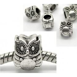 Perle métal chouette (hibou) couleur argent antique Style Pandora