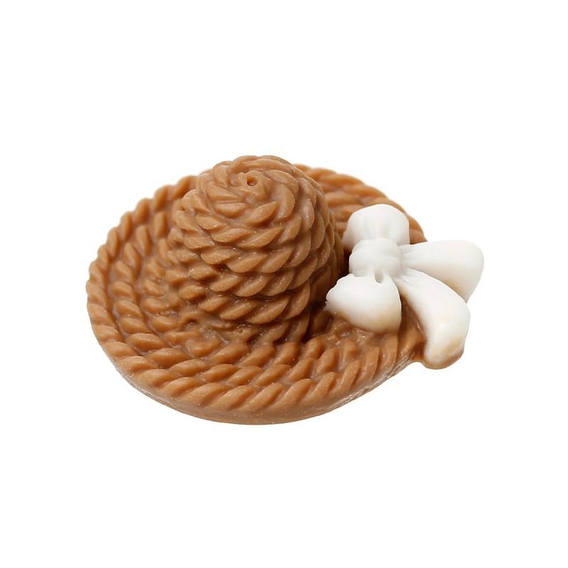 Cabochon résine chapeau ou applique d'embellissement avec noeud papillon couleur café 19 x 17 mm
