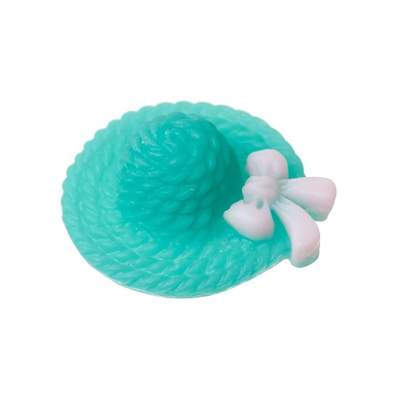 Cabochon résine chapeau couleur turquoise ou applique d'embellissement avec noeud papillon blanc