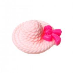 Cabochon résine chapeau rose ou applique d'embellissement avec noeud papillon couleur fushia