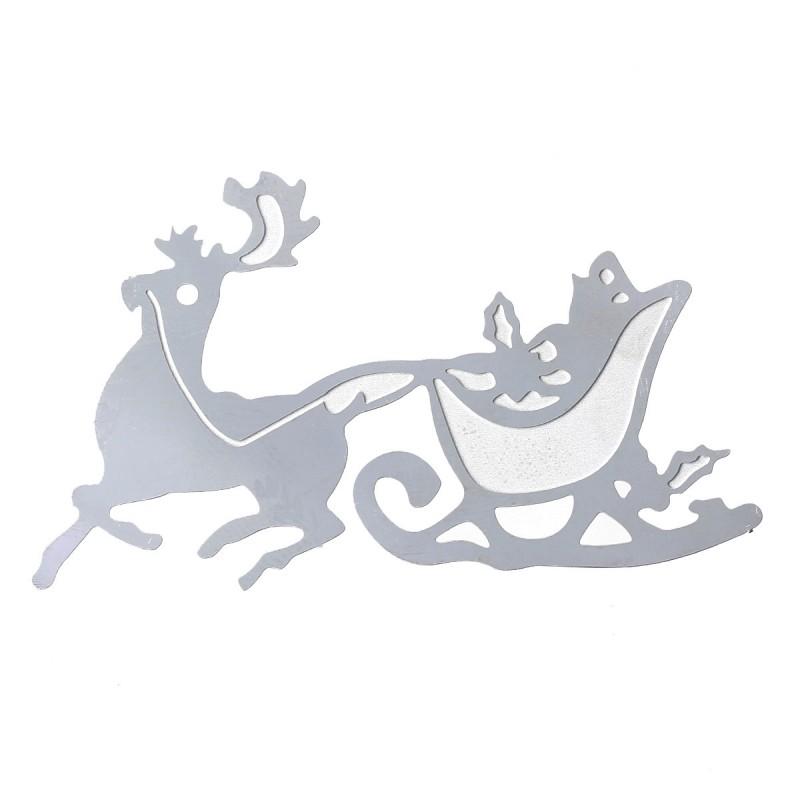 Pendentif cerf et traineau de Noël acier inoxydable estampe filigranée 52 x 30 mm