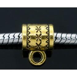 Bélière charme décor gravé forme tube  couleur or vieilli compatible Pandora