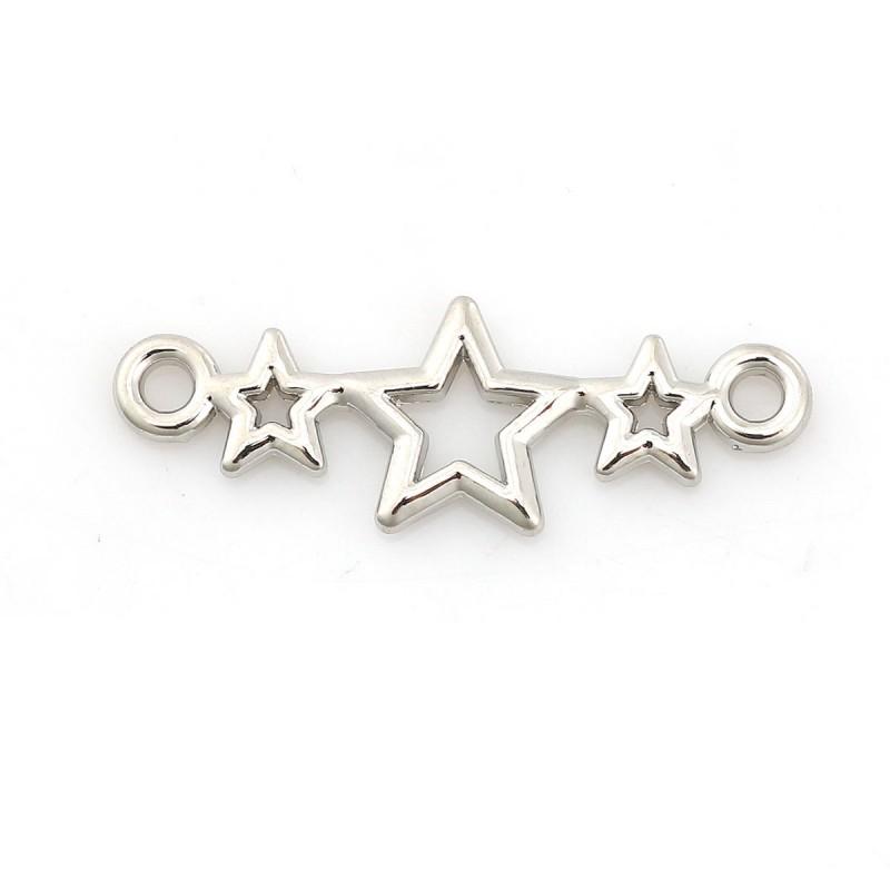 Connecteur décor 3 étoiles, lien pour bijou couleur argente