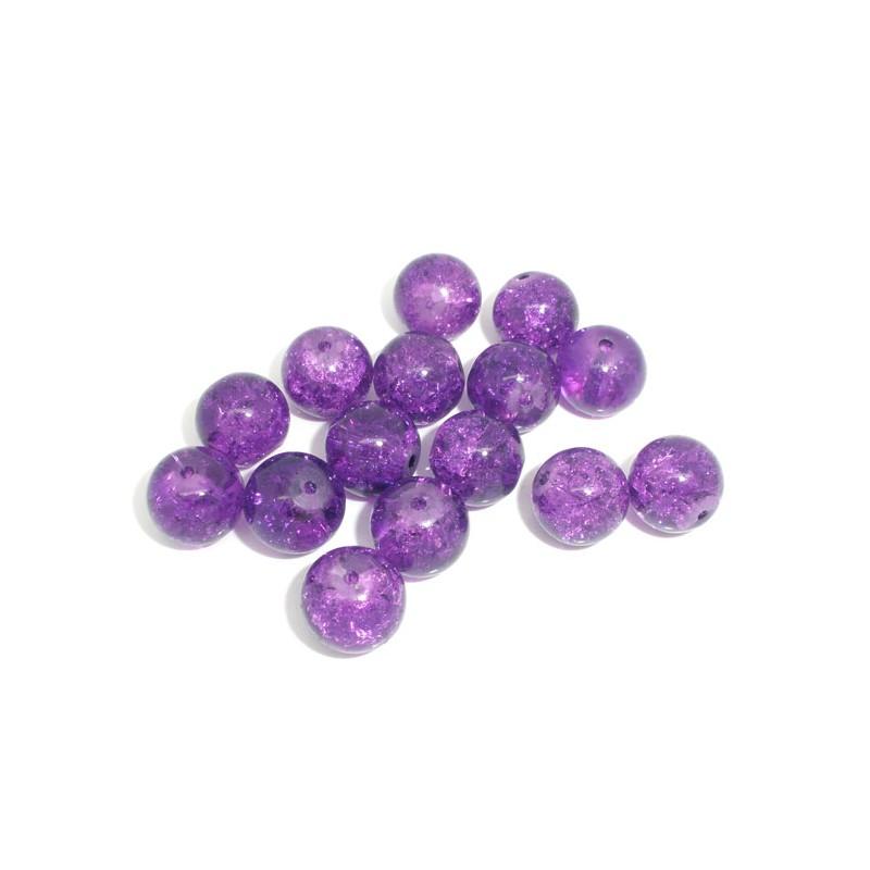 5 Perles craquelées violettes 10 mm en verre pour collier, bracelet ou décor