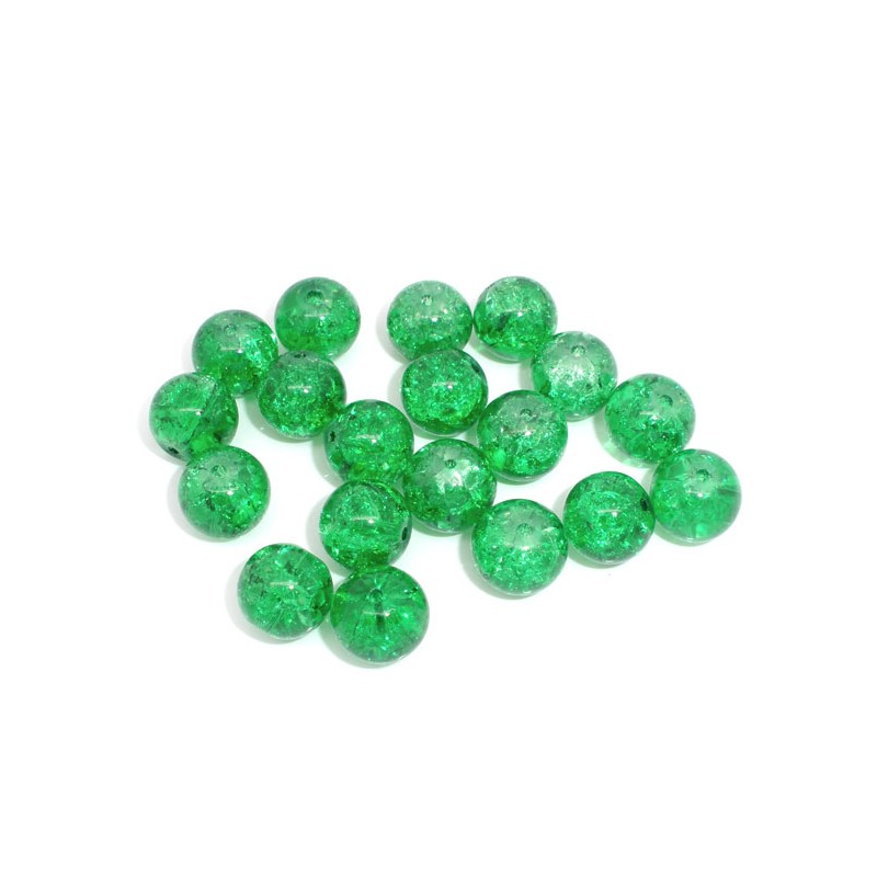 5 Perles craquelées vertes 10 mm en verre pour collier, bracelet ou décor