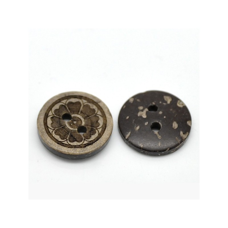 5 Boutons  motif fleur en coquille de coco rond 15 mm
