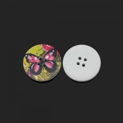 Gros bouton bois décor de pivoines, 3 cm, 2 trous