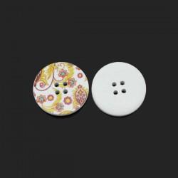 Gros bouton bois décor de de fleurs et volutes, 3 cm, 2 trous