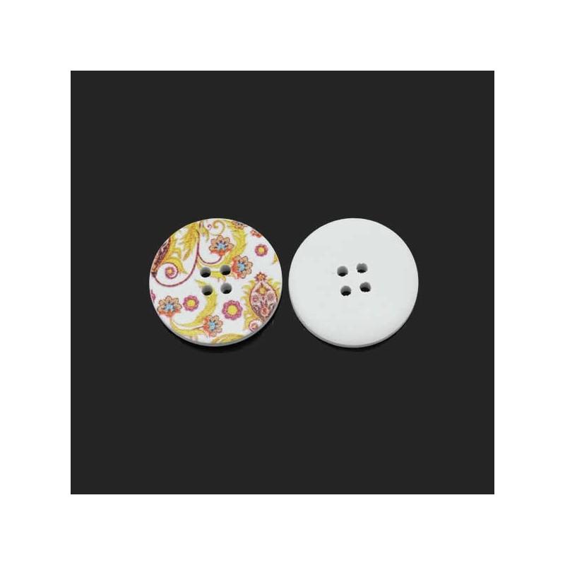 gros bouton en bois d cor de fleurs et volutes tons chauds sur fond blanc diam tre 3 cm. Black Bedroom Furniture Sets. Home Design Ideas