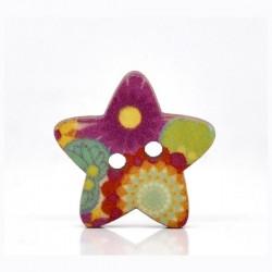 Bouton bois en forme d'étoile 18 x 17 mm, 2 trous