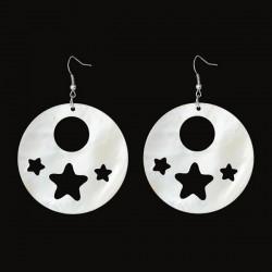 Boucles d'oreille en coquillage décor étoiles et ronds