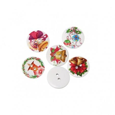 5 Boutons en  bois décor Noël ou Pâques, 2 cm, 2 trous