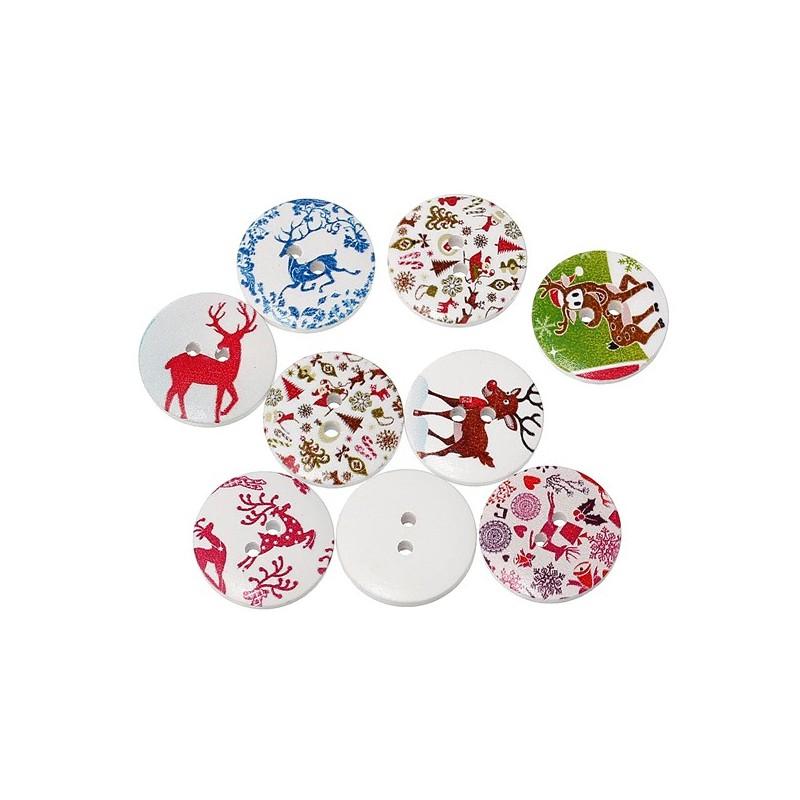 5 boutons de no l 2 cm 2 trous avec diff rents motifs compos s de cerfs sapins flocons for Bouton en porcelaine pour meuble