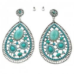 Paire de boucle d'oreilles pierre et strass tons turquoise