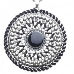 Collier bohème, pierre et strass tons noirs