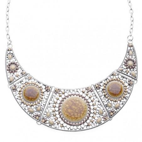 Collier pierres et perles tons beige à marron
