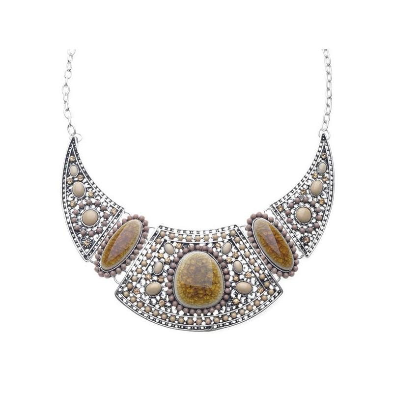 Collier pierres et perles tons topaze
